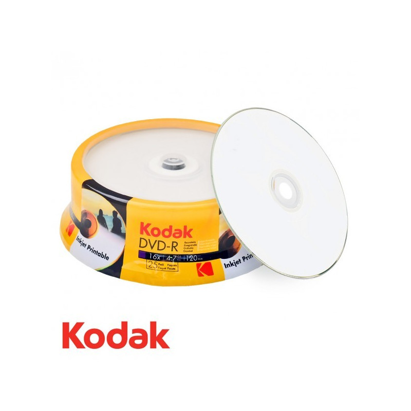 graphic relating to Ink Jet Printable Dvd identified as Kodak DVD-R 4.7GB120min 16x rate, inkjet fullsurface