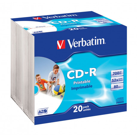 Cd R 52x 700mb Verbatim Azo Printable Caja Slim Pack 20