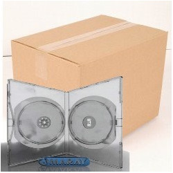 Pack 50 Amaray DVD Case for 2 disc, 14mm, with clips, transparente