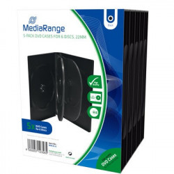 Pack 5 MediaRange DVD Case for 6 disc, 22mm, black