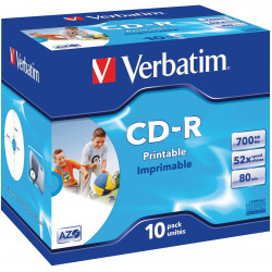 Verbatim CD-R 52x FF Printable AZO Caja Jewel,ID Branded - 10 uds