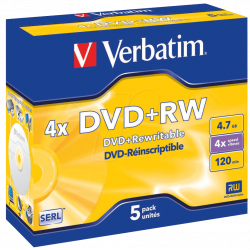 Verbatim DVD+RW SERL 4.7GB 4X MATT SILVER SURFACE Jewelcase Pack 5