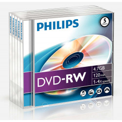 Philips DVD-RW 4,7GB 4x Jewel Case (5 unidades)