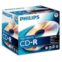 Philips CD-R 90Min 800MB 40x Jewel Case (10 unidades)
