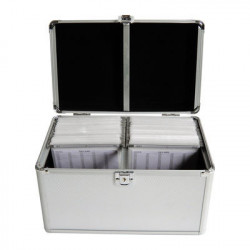 MediaRange Media storage case for 200 discs, aluminum look, with hanging sleeves, silver