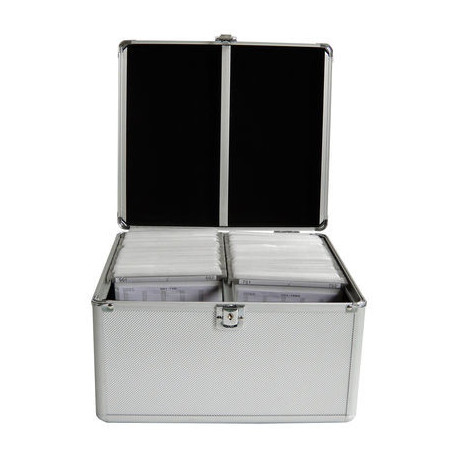 MediaRange Media storage case for 300 discs, aluminum look, with hanging sleeves, silver