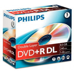 Philips DVD+R 8,5GB DL 16x jEWELCASE 5 UNIDADES