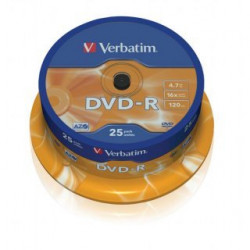 Verbatim DVD-R AZO 4.7GB 16X MATT SILVER SURFACE Cake 25