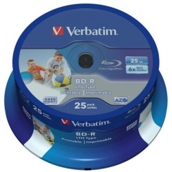 Verbatim BD-R SINGLE LAYER LTH 25GB 6X WIDE PRINTABLE NO ID SURFACE HARD COAT Cake 25