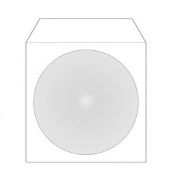MediaRange Paper sleeves for 1 disc, with adhesive flap and window, white, Pack 100
